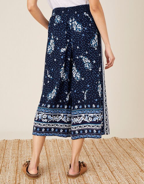 Paisley Print Crop Trousers in LENZING™ ECOVERO™, Blue (NAVY), large