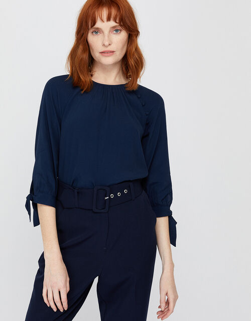 Josiah Tie Sleeve Blouse, Blue (NAVY), large