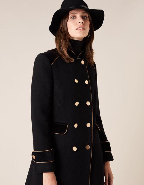 Maddie Military Coat in Wool Blend, Black (BLACK), large