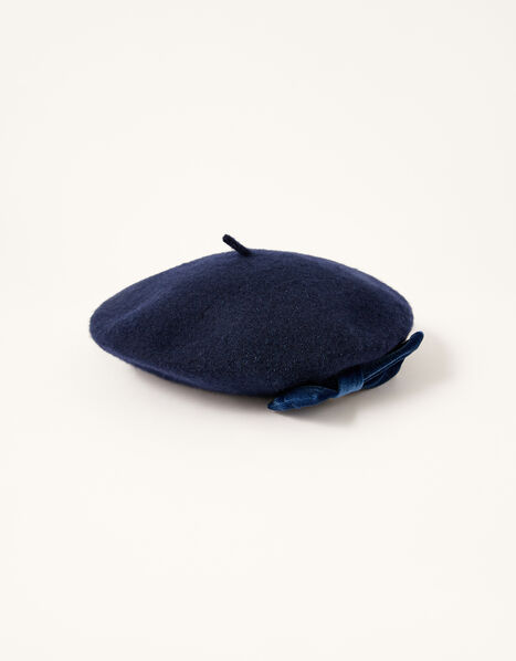 Amelie Beret in Pure Wool Blue, Blue (NAVY), large