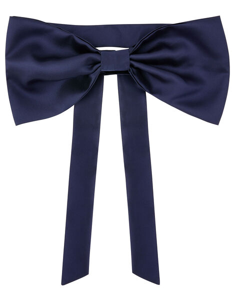 BRIDESMAID Duchess Twill Bow and Sash  Blue, Blue (NAVY), large