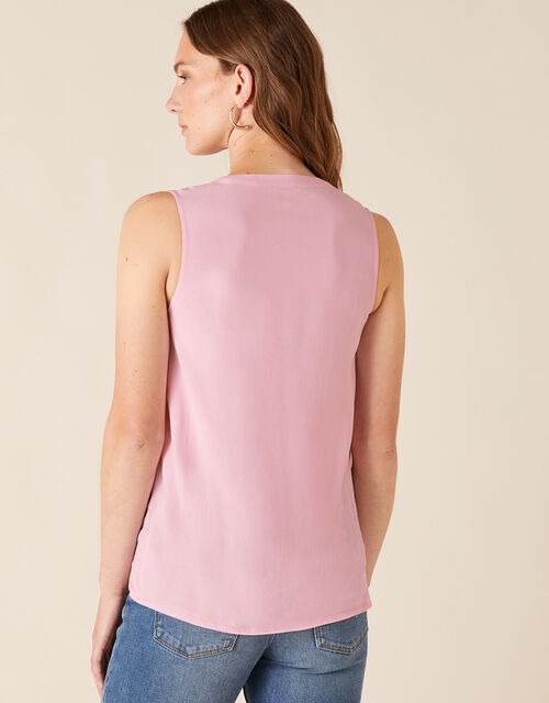 Tie Front Sleeveless Top with LENZING™ ECOVERO™, Pink (BLUSH), large