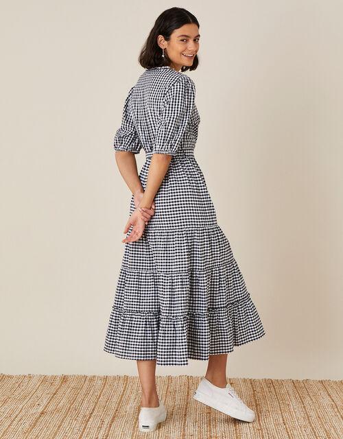 Gingham Wrap Dress in Organic Cotton, Black (BLACK), large