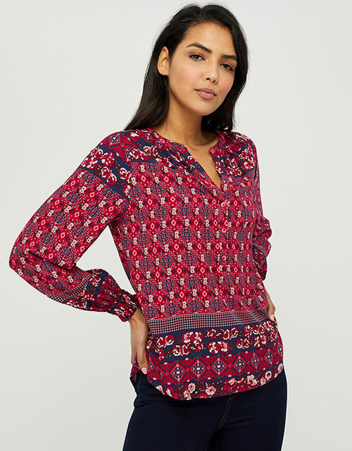 Deanna Printed Blouse in Sustainable Viscose, Orange (CORAL), large