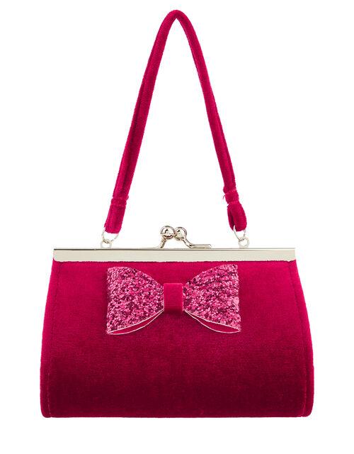 Glitter Bow Velvet Mini Bag, , large