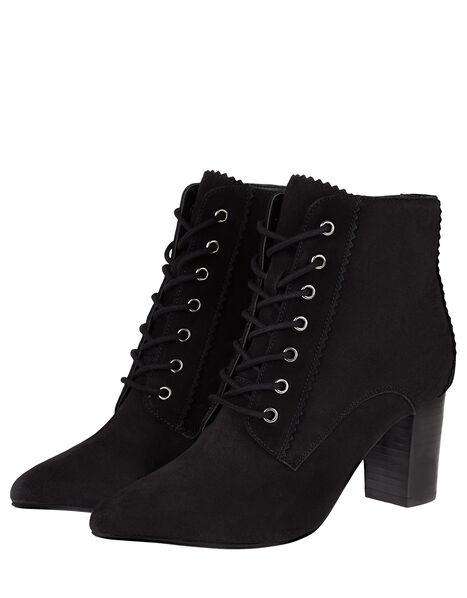Lace-Up Suede Heeled Ankle Boots Black, Black (BLACK), large