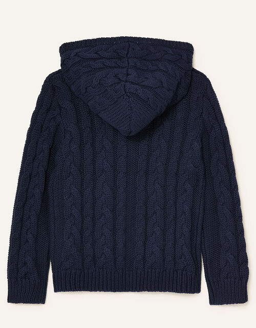 Cable Knit Hoody, Blue (NAVY), large