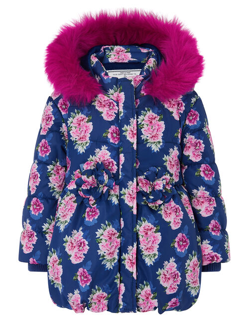 Baby Rose Print Hooded Coat, Blue (NAVY), large