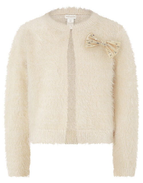 Sequin Bow Fluffy Knit Cardigan, Ivory (IVORY), large