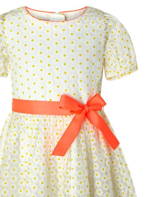 Daisy Puff Sleeve Dress, White (WHITE), large
