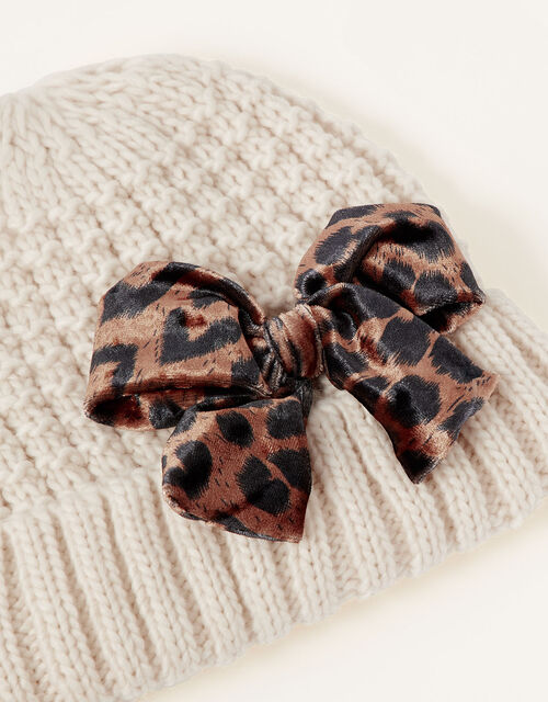 Katie Leopard Bow Knit Hat, Camel (OATMEAL), large