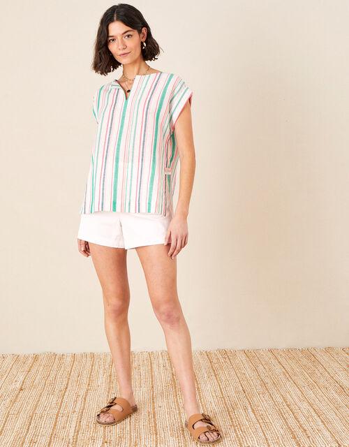 Stripe Print Top in Linen Blend, White (WHITE), large