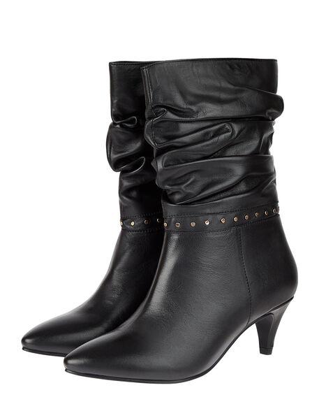 Slouch Studded Leather Ankle Boots Black, Black (BLACK), large