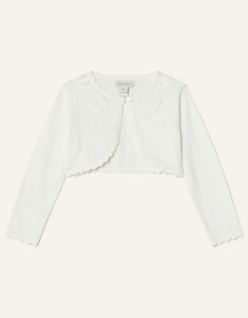 Baby 3D Butterfly Cardigan, Ivory (IVORY), large