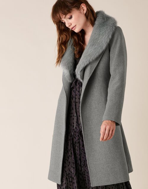 Faux Fur Collar Coat in Wool Blend, Grey (GREY), large