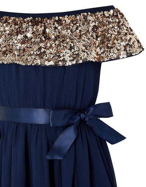Vera Sequin Bardot Hanky Hem Dress, Blue (NAVY), large