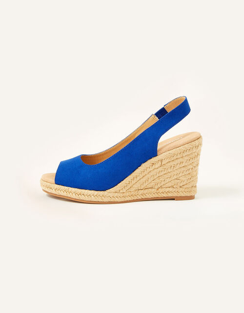 Sandy Peep Toe Espadrille Wedges, Blue (COBALT), large