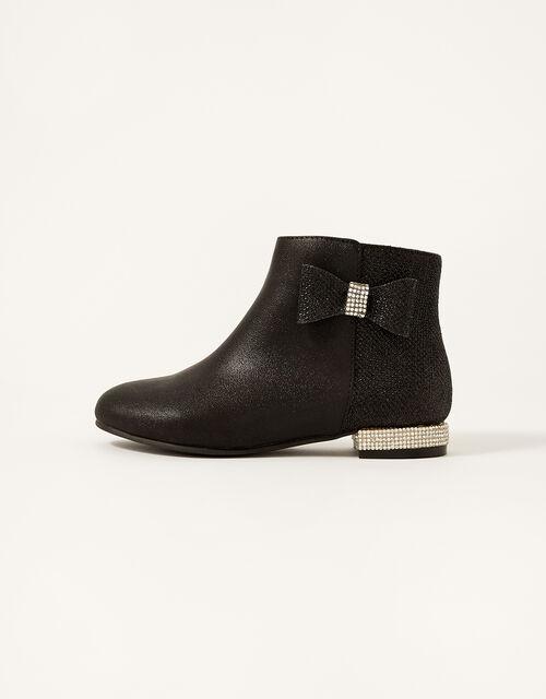 Diamante Heel Shimmer Boots, Black (BLACK), large