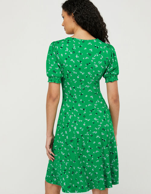 Ditsy Floral Jersey Dress, Green (GREEN), large