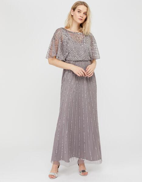 Tatiana Embellished Maxi Dress Grey, Grey (GREY), large