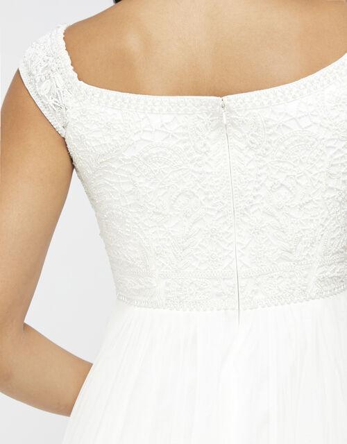 Emmeline Bridal Bardot Embellished Maxi Dress, Ivory (IVORY), large