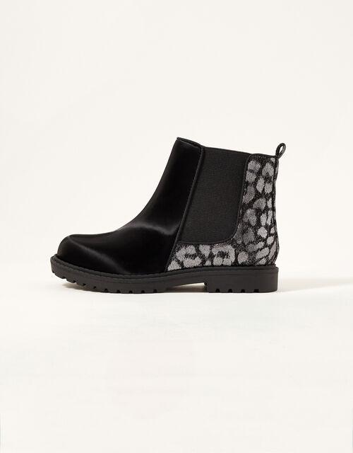 Metallic Animal Chelsea Boots, Black (BLACK), large