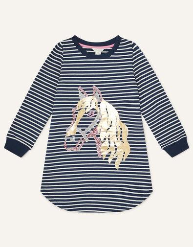 Horse Foil Sweatshirt Blue, Blue (NAVY), large