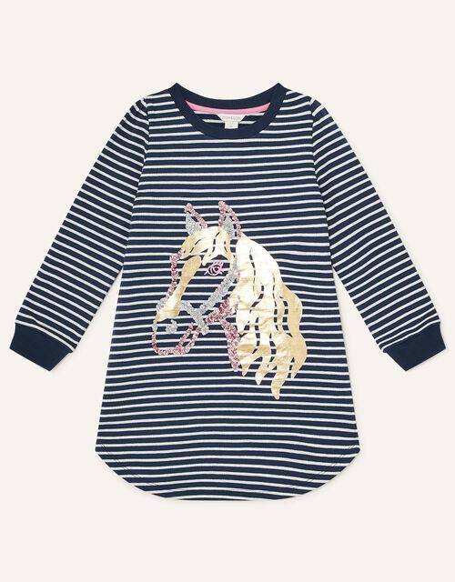 Horse Foil Sweatshirt, Blue (NAVY), large