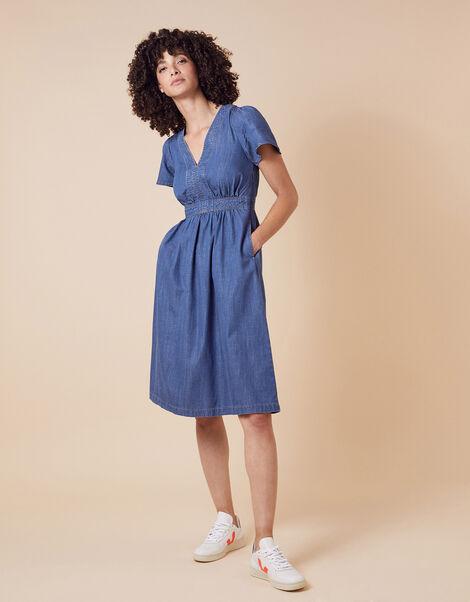 Denim Midi Dress in LENZING™ TENCEL™ Blue, Blue (DENIM BLUE), large