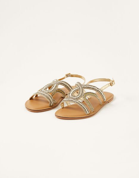 Beaded Sandals Gold, Gold (GOLD), large