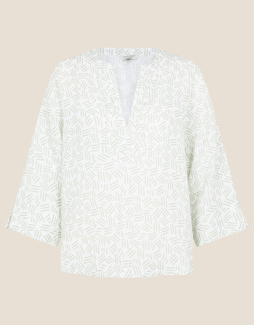 Printed Top in Pure Linen, Ivory (IVORY), large