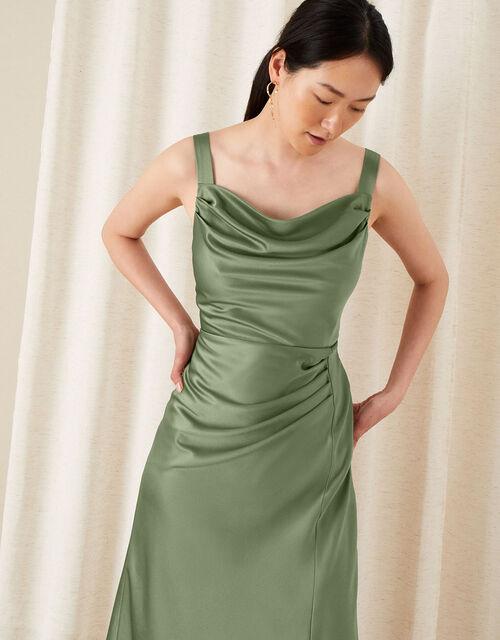 Camilla Cowl Satin Dress, Green (GREEN), large