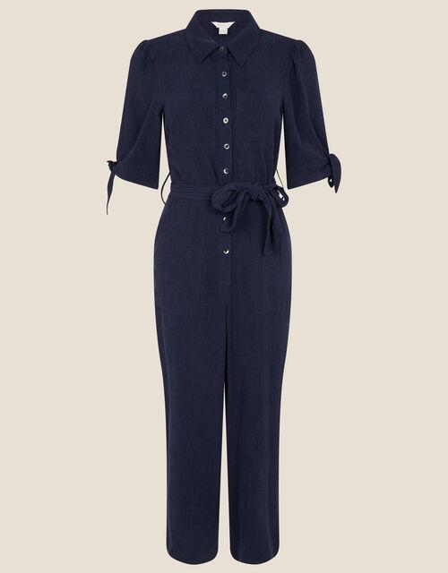 Plain Collared Jumpsuit, Blue (NAVY), large