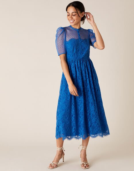 Trisha Embroidered Lace Midi Dress Blue, Blue (BLUE), large