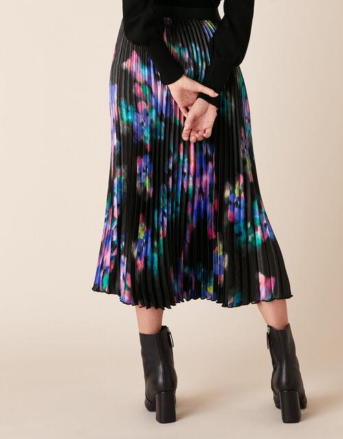 Blur Print Pleated Satin Midi Skirt, Black (BLACK), large
