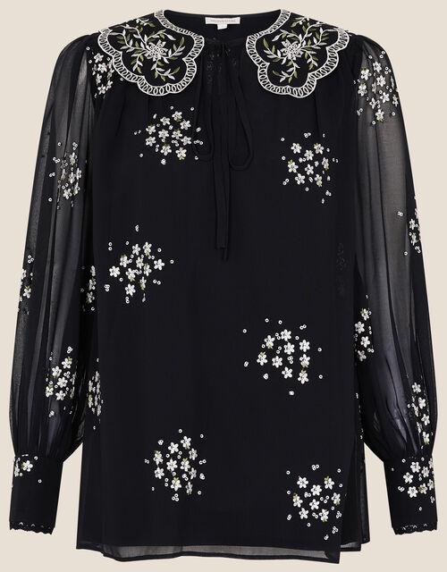 Stasia Floral Embroidered Blouse, Black (BLACK), large