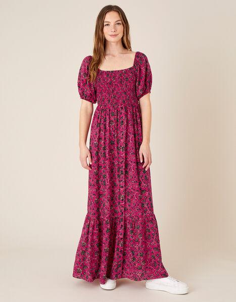 Floral Shirred Maxi Dress Pink, Pink (PINK), large