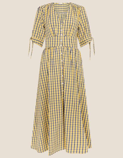 Amina Gingham Dress, Yellow (YELLOW), large