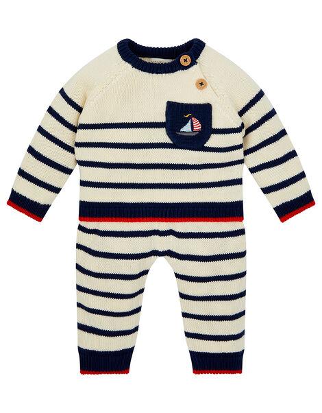 Newborn Boat and Stripe Knit Set Blue, Blue (NAVY), large
