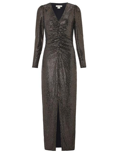 Rhiannon Ruched Glitter Maxi Dress, Bronze, large