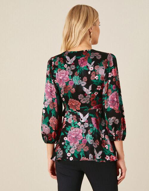 Kasenya Oriental Floral Wrap Top, Black (BLACK), large