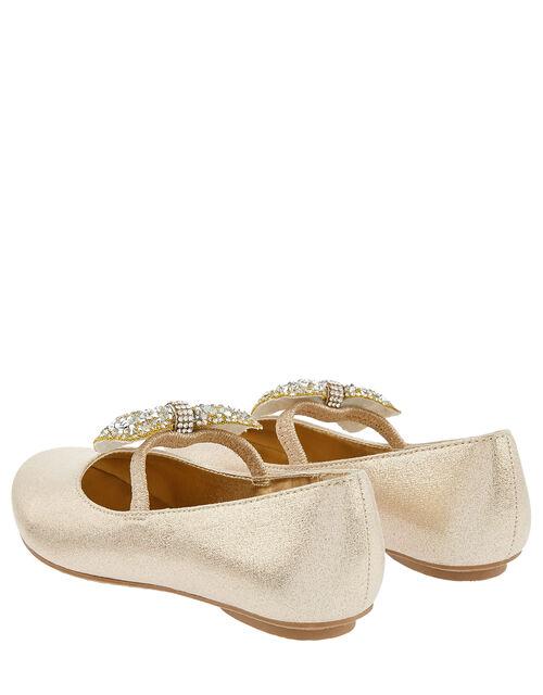Dawn Dazzle Bow Ballerina Flats, Gold (GOLD), large