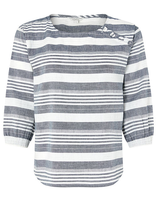 Brooke Stripe Blouse in Linen and Organic Cotton, Blue (NAVY), large