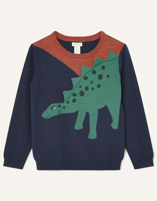 3D Dinosaur Knit Jumper, Blue (NAVY), large
