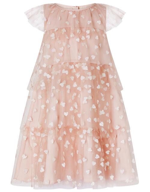 Heart Print Ruffle Dress, Pink (PINK), large