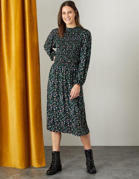 Floral Print Shirred Midi Dress Black, Black (BLACK), large