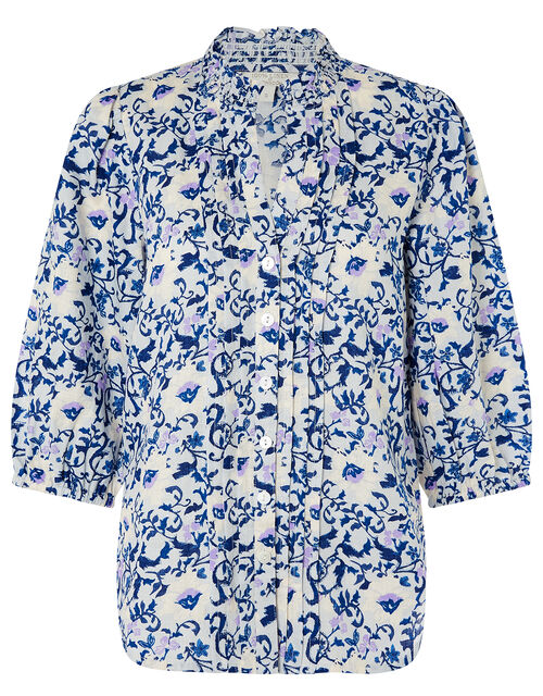 Francine Floral Blouse in Pure Linen, Blue (BLUE), large