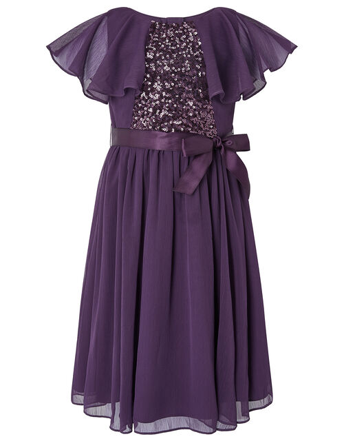 Cape Sleeve Sequin Dress in Recycled Fabric, Purple (PURPLE), large