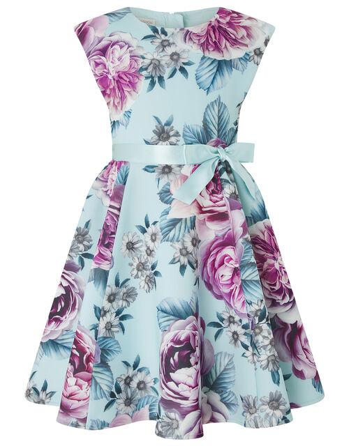 Leena Floral Scuba Occasion Dress, Blue (PALE BLUE), large