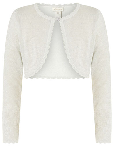 Niamh Shimmer Crop Cardigan Silver, Silver (SILVER), large